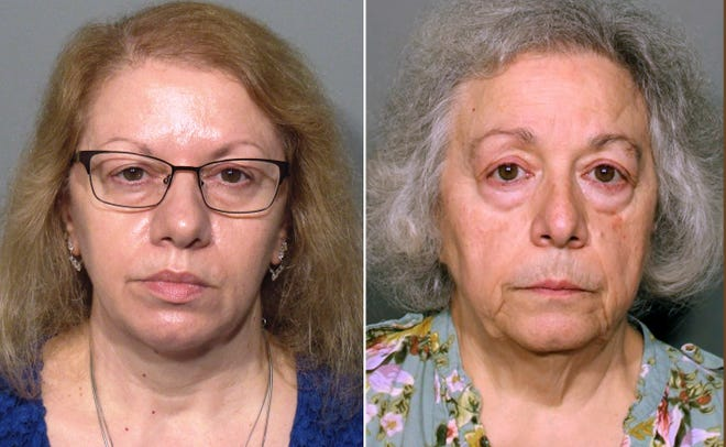 """This pair of photos released Monday, Aug. 13, 2018, by the New Canaan Police Department show Joanne Pascarelli, left, of Stratford, Conn., and her sister Marie Wilson, right, of Wilton, Conn., former cafeteria workers charged with stealing nearly a half-million dollars from New Canaan, Conn., schools over the last five years. An attorney for Wilson says she is innocent and is """"not going to be scapegoated."""" (New Canaan Police Department via AP) ORG XMIT: BX101"""