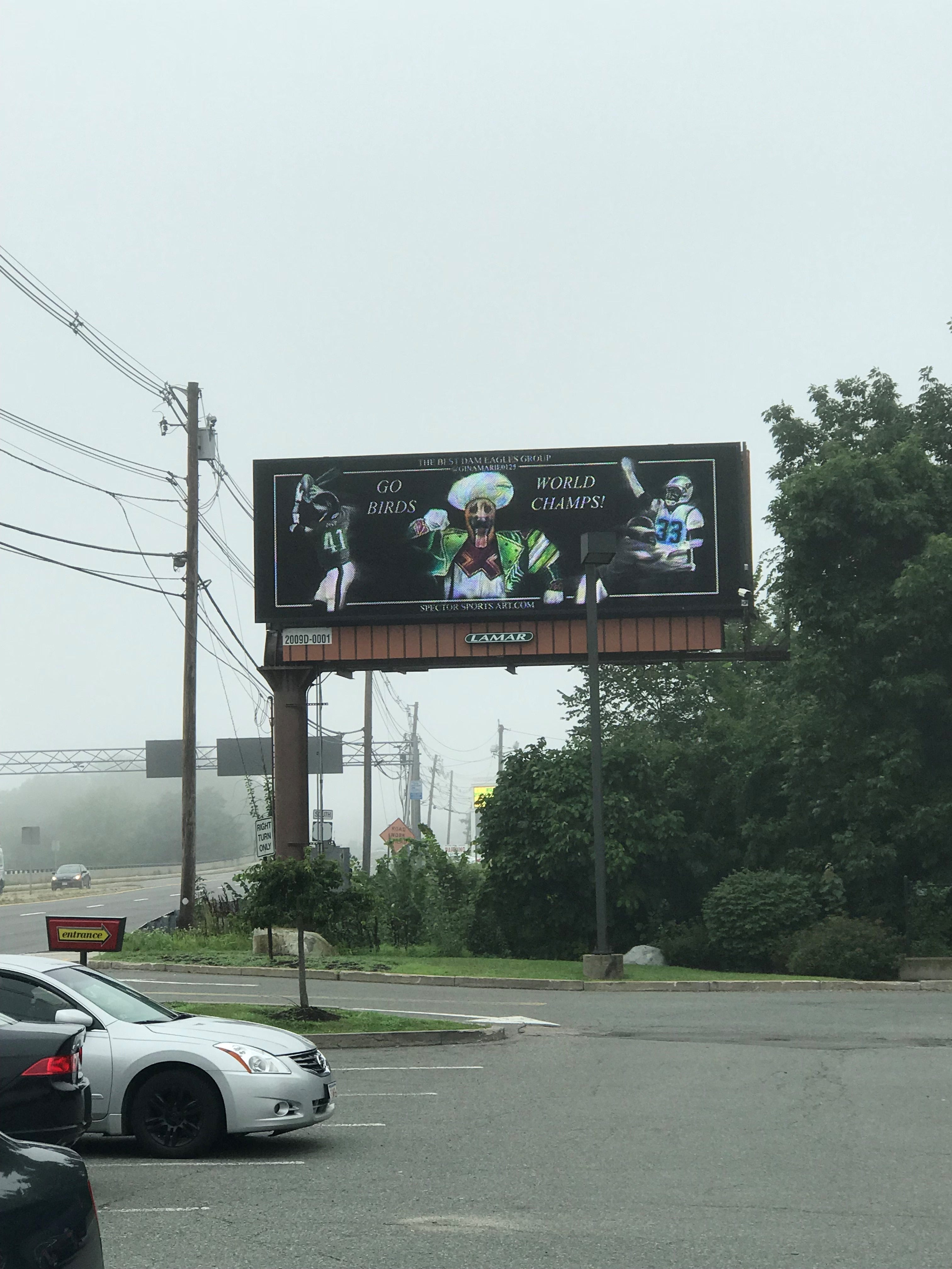 Eagles fan trolls Patriots with billboard near Gillette Stadium