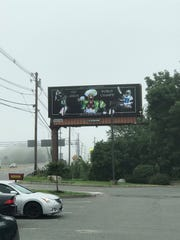 The Eagles billboard from the street.