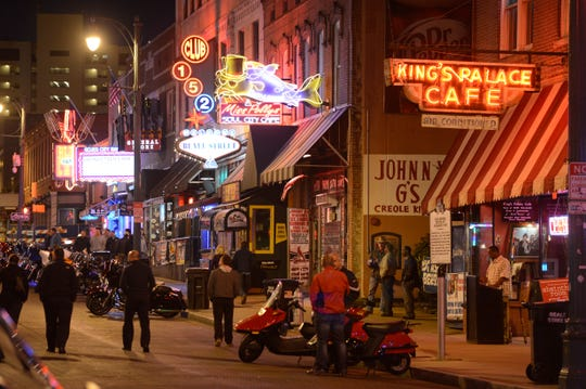 Beale Street in downtown Memphis, Tennessee.