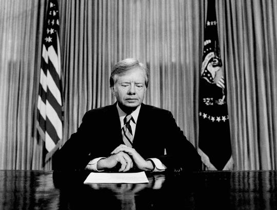 President Jimmy Carter prepares to make a national television address from the Oval Office at the White House in Washington, on the failed mission to rescue the Iran hostages on April 25, 1980.