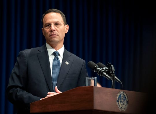 August 14, 2018; Harrisburg, PA, USA;  Attorney General Josh Shapiro outlined the findings of the grand jury investigation into six catholic diocese in Pennsylvania. The grand jury's report detailed child sexual abuse and coverup by more than 300 clergy.