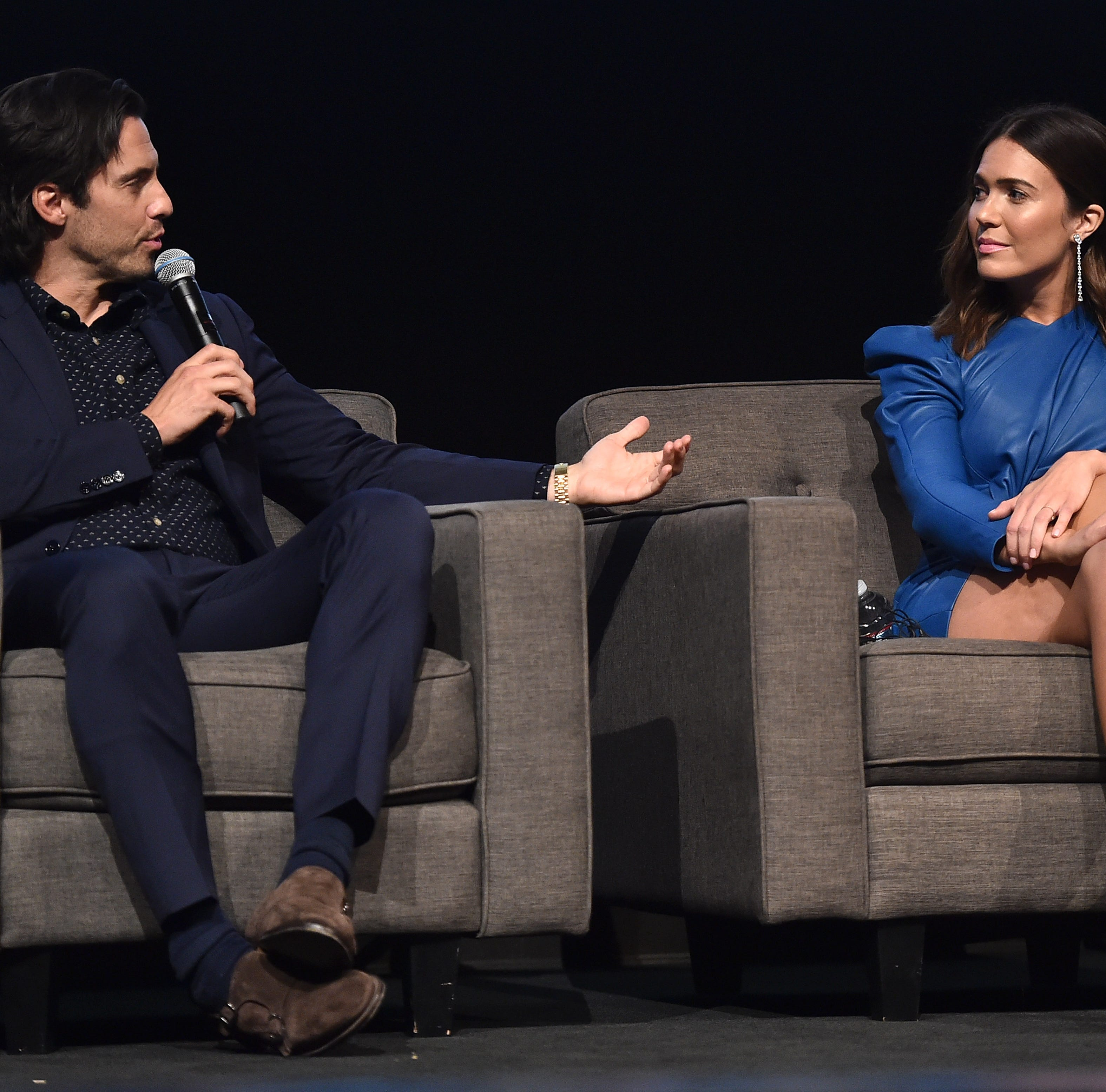 'This Is Us' stars Milo Ventimiglia, left, and Mandy Moore joined cast members and executive producer Dan Fogelman for a panel Monday that looked back at last season and dropped hints about Season 3, which premieres Sept. 25 on NBC.