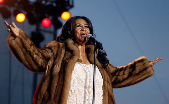 "August 5, 2014; West Allis, WI, USA; Aretha Franklin, the ""Queen of Soul,"" performs at the Wisconsin State Fair. Mandatory Credit: Rick Wood/Milwaukee Journal Sentinel via USA TODAY NETWORK ORIG FILE ID:  20180812_ajw_usa_051.jpg"