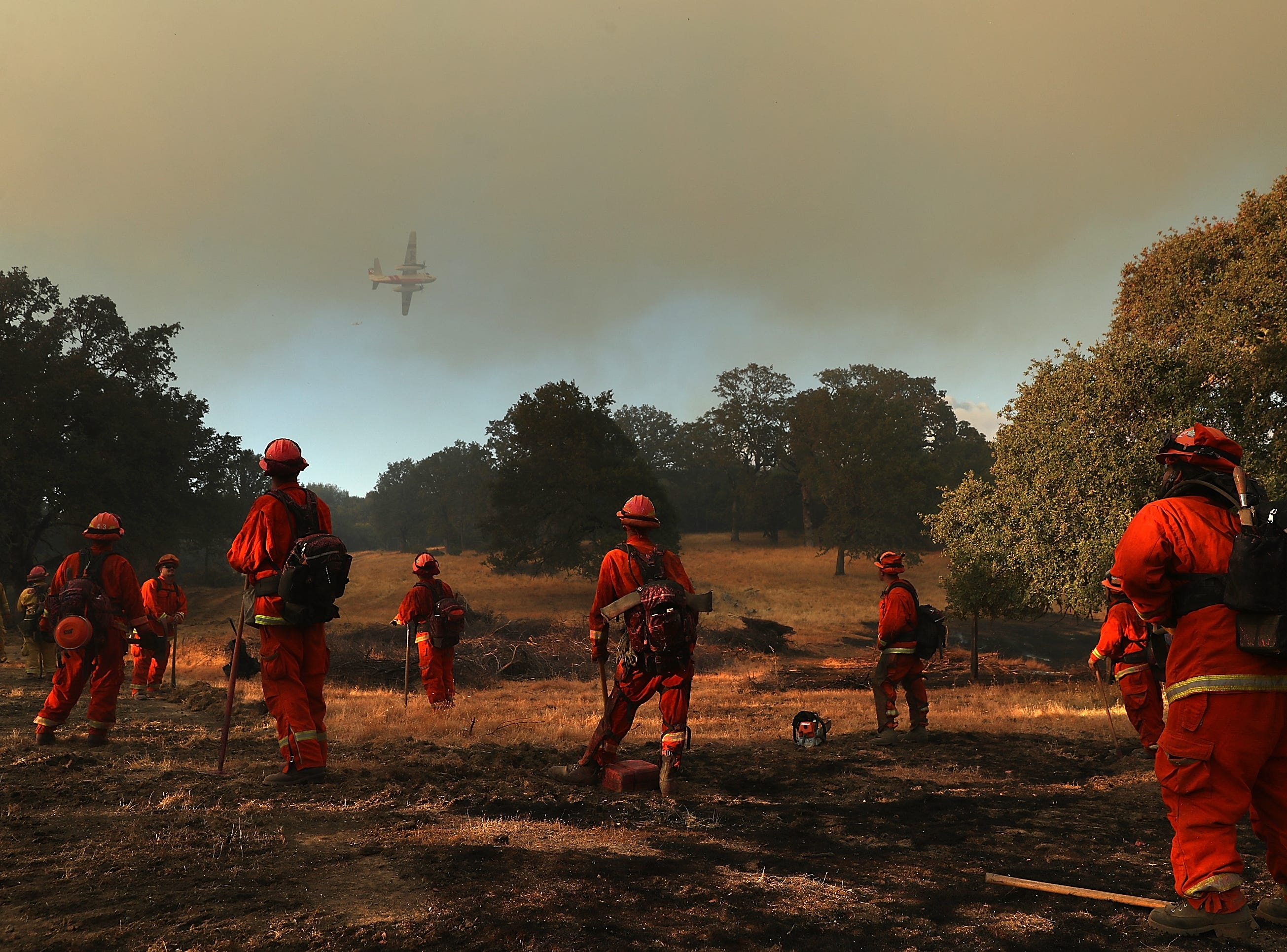 Inmate firefighters in Lakeport, Calif., on Aug. 1, 2018.