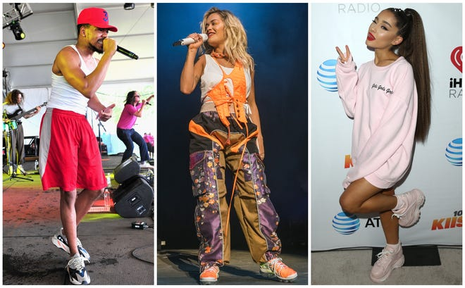 Chance the Rapper, Rita Ora and Ariana Grande are walking the dad-shoes walk.