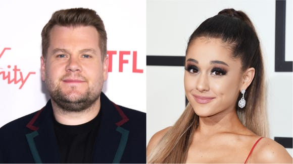 James Corden and Ariana Grande