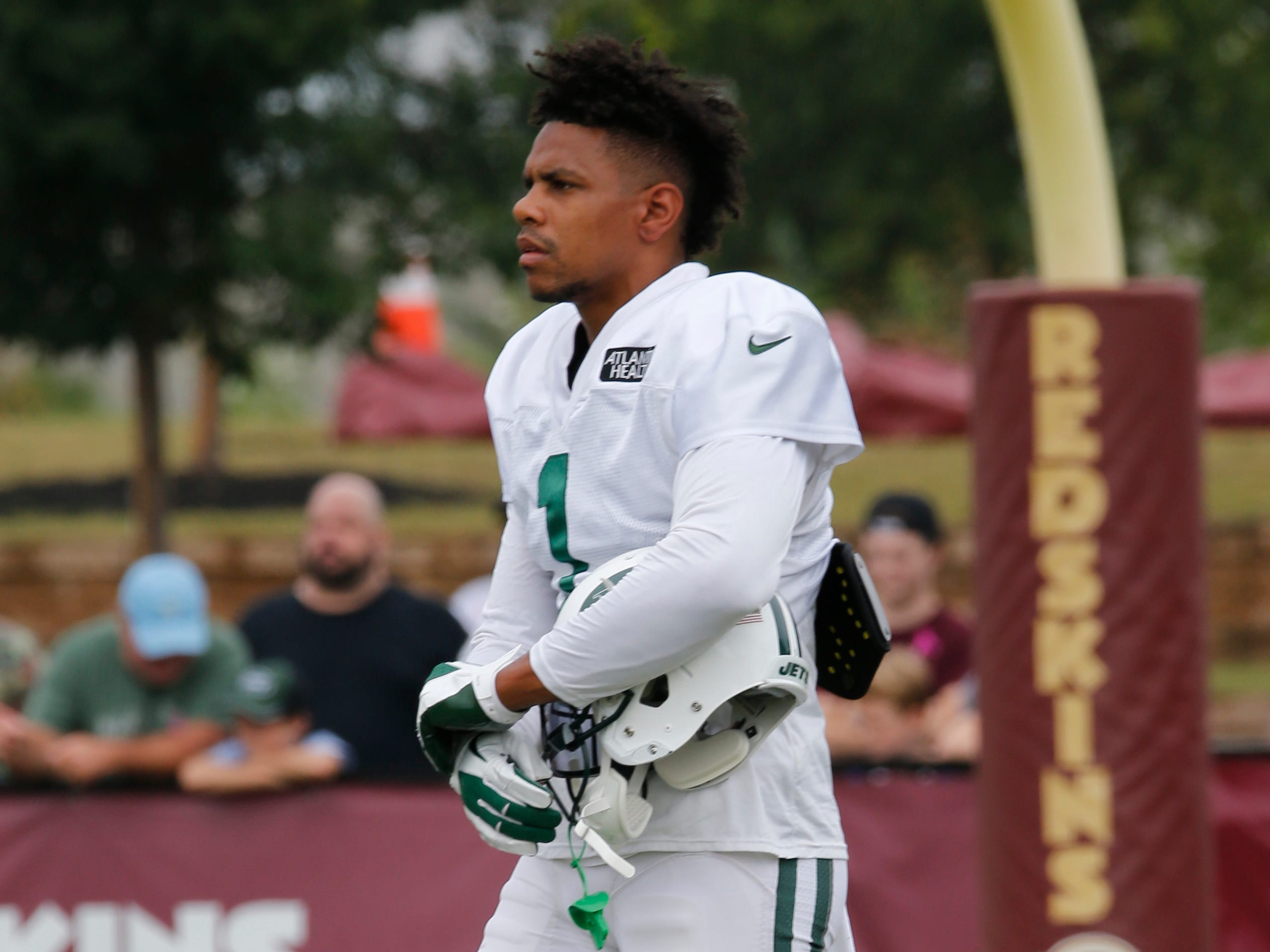New York Jets wide receiver Terrelle Pryor (1) watches drills during the New York Jets Washington Redskins NFL football training camp in Richmond, Va., Monday, Aug. 13, 2018.