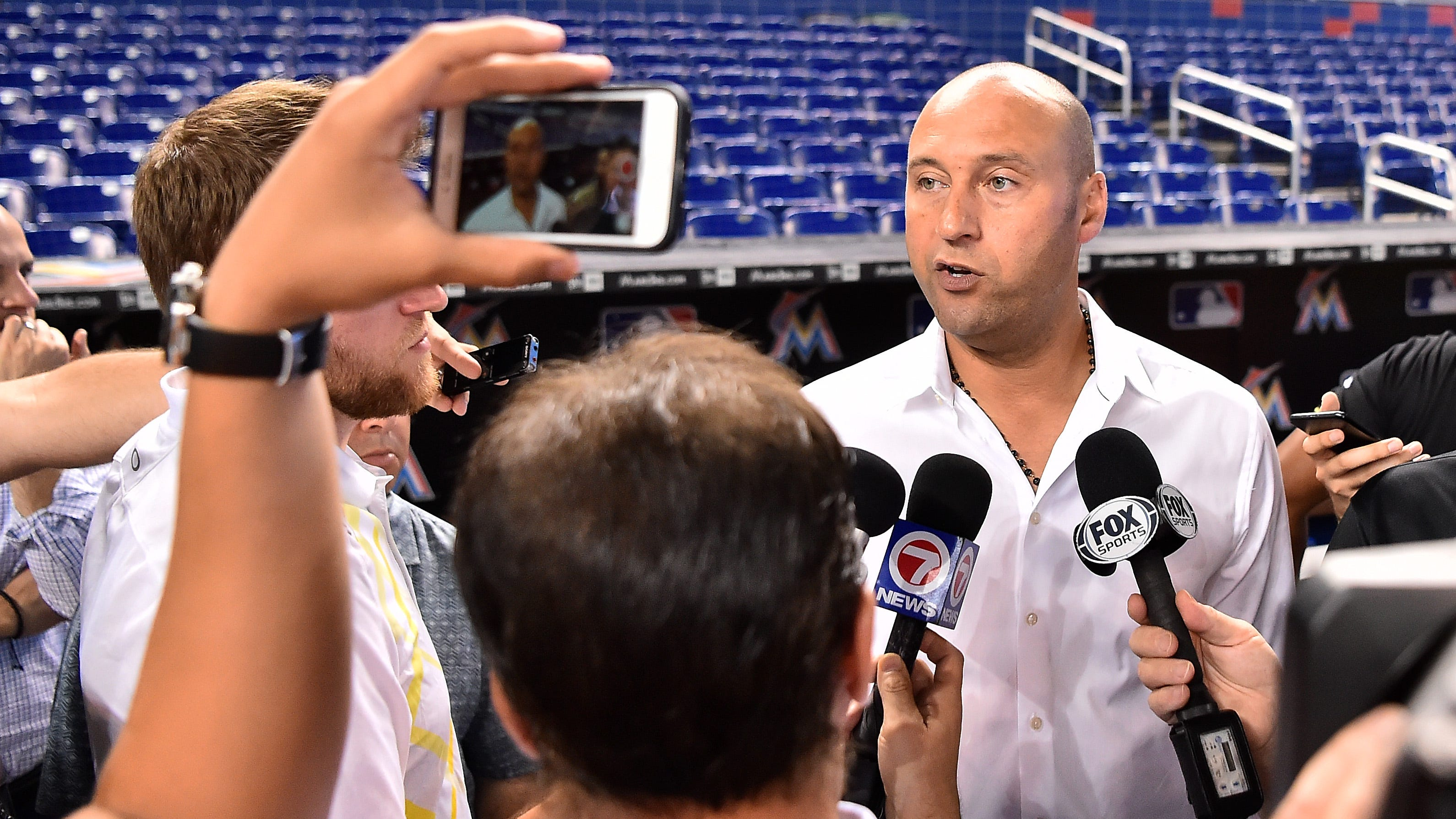 Marlins chief executive officer Derek Jeter speaks to the media prior to a June 27 game against the Arizona Diamondbacks at Marlins Park.