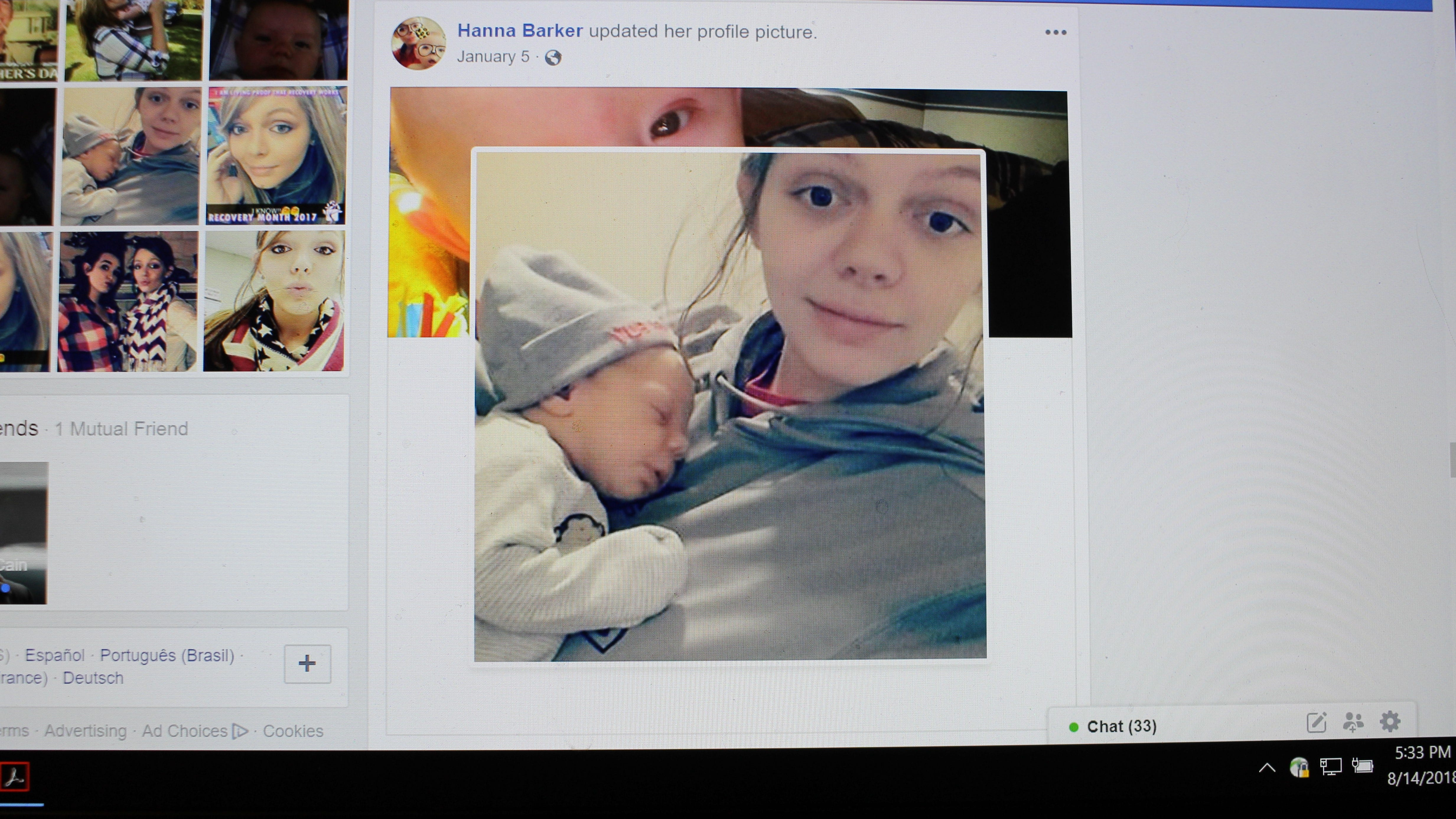 Hanna Barker holds her infant son, Levi Cole Ellerbe, in this photo posted to her Facebook page on Jan. 5. Barker now faces charges in connection to the boy's death on July 18.