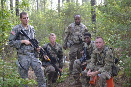 Infantry soldiers with 3rd Battalion, Bravo Company, based out of Camp Beauregard. The soldiers were taking part in an XCTC training exercise at Camp Shelby, Miss., as they prepare for possible deployment in 2020. Pictured are (from left) Spc. Mason Henry, PFC. Daniel Wouters, PFC. Deontre Means, E1 Walter James, and Spc. Luke Johnson.