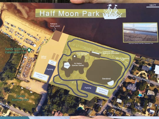"""An artist's rendering of the proposed """"Half Moon Park"""" at the Atlantic Highlands waterfront."""