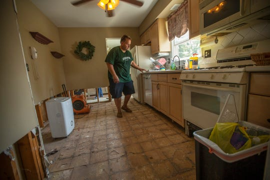 The kitchen of Bob Salomon on Pine Needle Street in Howell. The first floor was flooded out on August 13 after an intense storm, which also created a sinkhole on the side of his property.