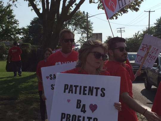 Nurses at Jersey Shore University Medical Center in Neptune demonstrated Wednesday, seeking better staffing levels.