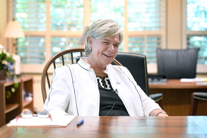 Nancy J. Cable talks about what she is excited about in her new role as the chancellor of UNC Asheville on Tuesday, Aug. 14, 2018.