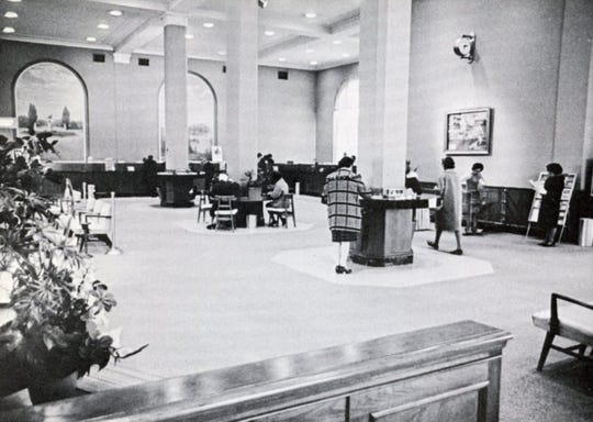 The main area of the 1949 addition to Binghamton Savings Bank, with the two murals.