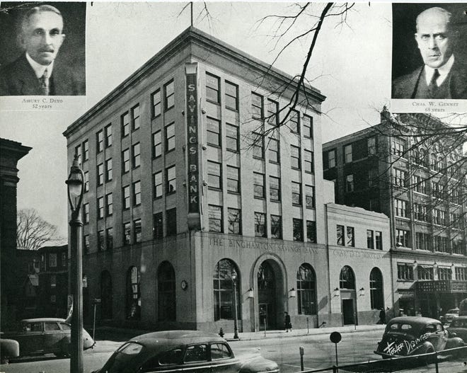 The exterior of Binghamton Savings Bank as it appeared around 1949.