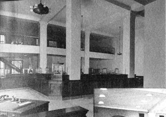 The older look of Binghamton Savings Bank's interior, about 1932.
