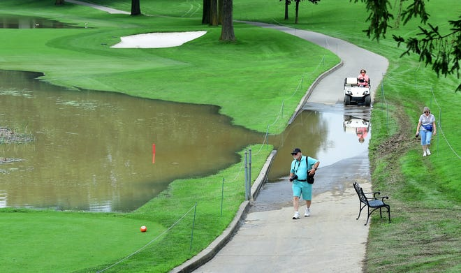 No. 15 was one of the fairways under water at En-Joie Golf Club in Endicott, on Wednesday, August 15, 2018. The first round of the Dick's Sporting Goods Open is scheduled to begin Friday morning.