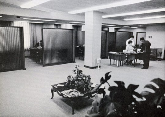 "The ""new"" mortgage area of Binghamton Savings Bank in 1967."