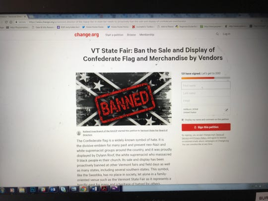 A Change.org petition is asking for the Vermont State Fair to ban the sale and display of Confederate flag merchandise