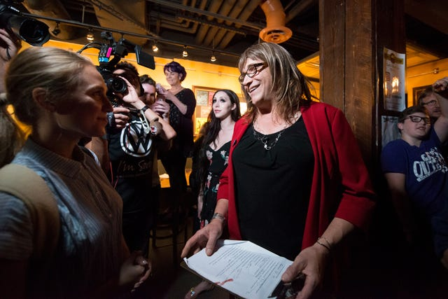 Christine Hallquist talks to reporters after winning the primary during her victory speech during the primary party for the Democratic candidate for governor at the Skinny Pancake on Tuesday night August 14, 2018 in Burlington.