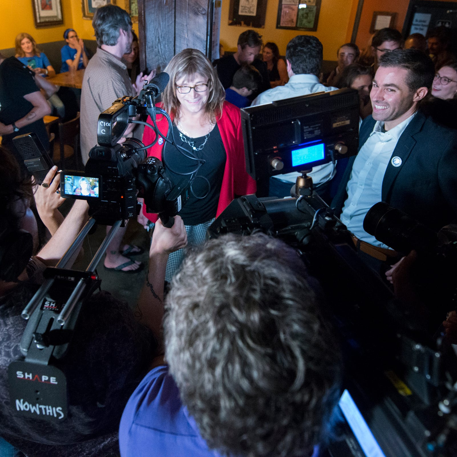 Christine Hallquist, first transgender governor nominee for major-party, attends Democratic rally