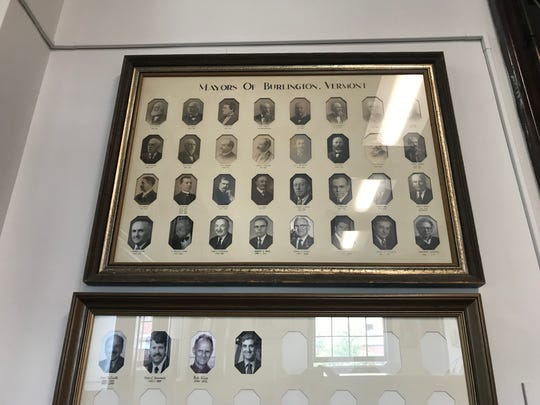 Portraits of mayors of Burlington hang in the Mayor's Office in City Hall.