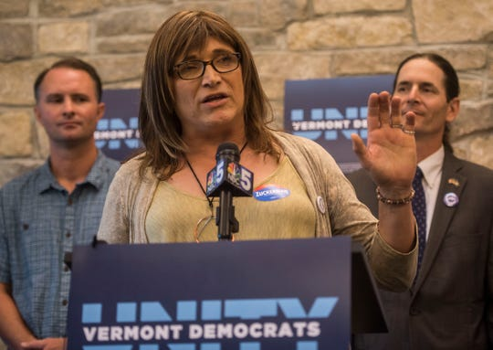 Vermont democratic gubernatorial candidate Christine Hallquist speaks at a unity rally in Burlington, Vt., on Wednesday night, Aug. 15, 2018, a day after she made US election history as the first transgender woman to win a major party primary for governor.