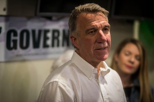 Gov. Phil Scott thanks his supporters and the Vermont Republican Party Tuesday night, Aug. 14, 2018, at Comfort Inn & Suites in Berlin after being declared the winner of the Republican gubernatorial primary election over challenger Keith Stern.
