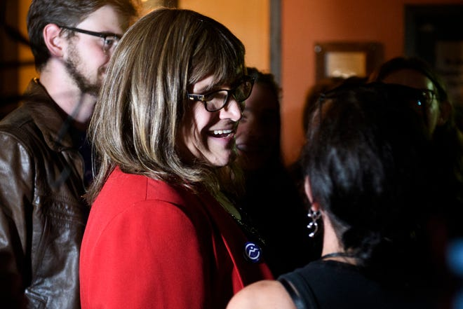 Christine Hallquist talks to supporters during the Primary party for the Democratic candidate for governor at the Skinny Pancake on Tuesday night August 14, 2018 in Burlington.