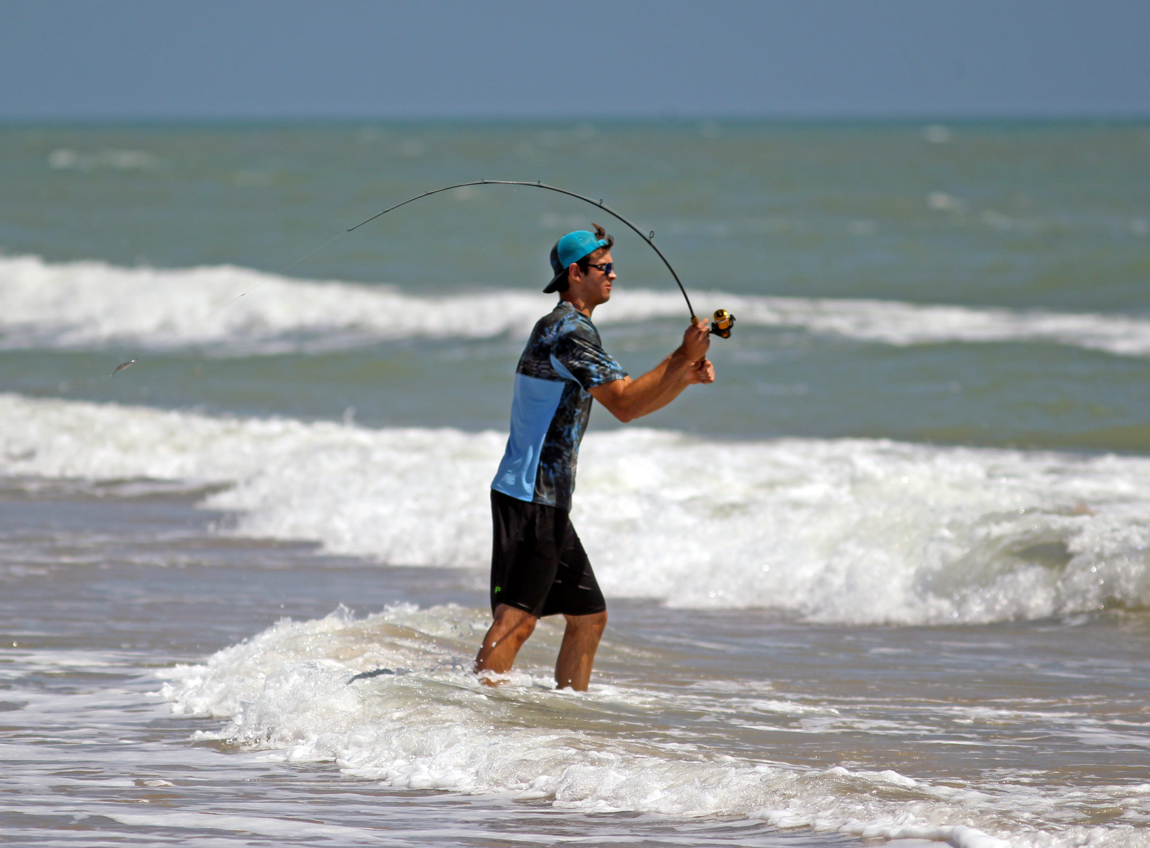 Summer fishing on Padre Island National Seashore is generally productive in the shallow surf.