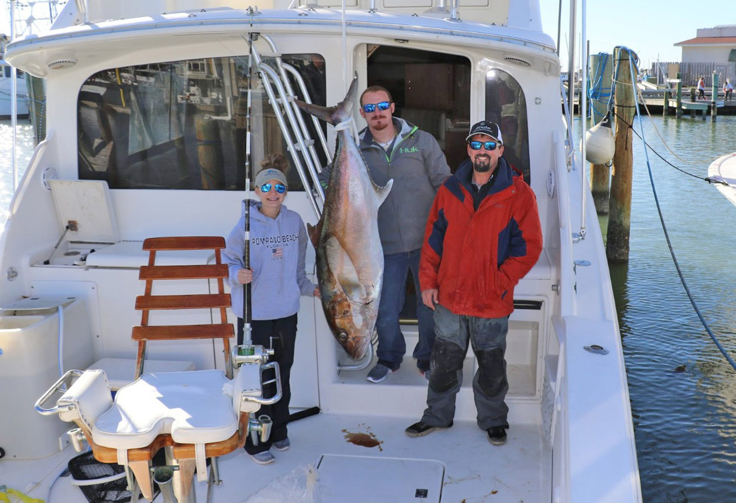 Reece Rockett was fishing about 50 miles offshore with Capt. Jake Mynier when she landed her world-record AJ.