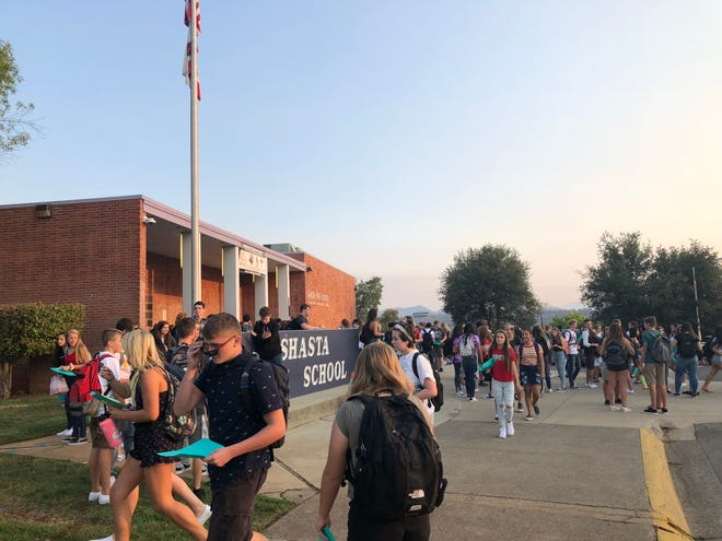 Students head back to Shasta High School for the first day of school.