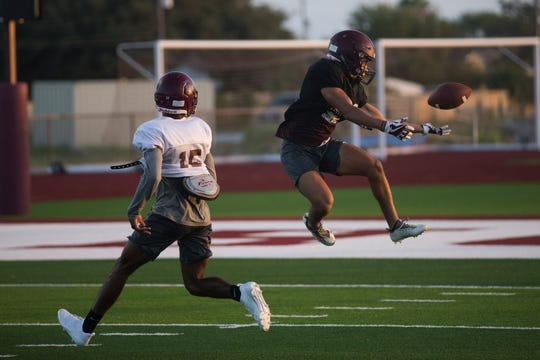 Flour Bluff football team goes through drills during practice on Wednesday , August 15, 2018 at Flour Bluff High School.