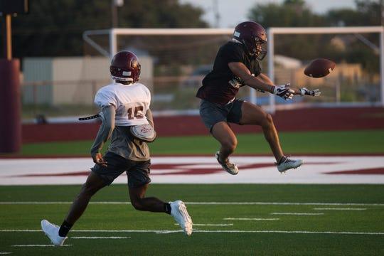 Flour Bluff football team goes through drills during practice on Wednesday , August 15, 2018 at Flour Bluff High School.