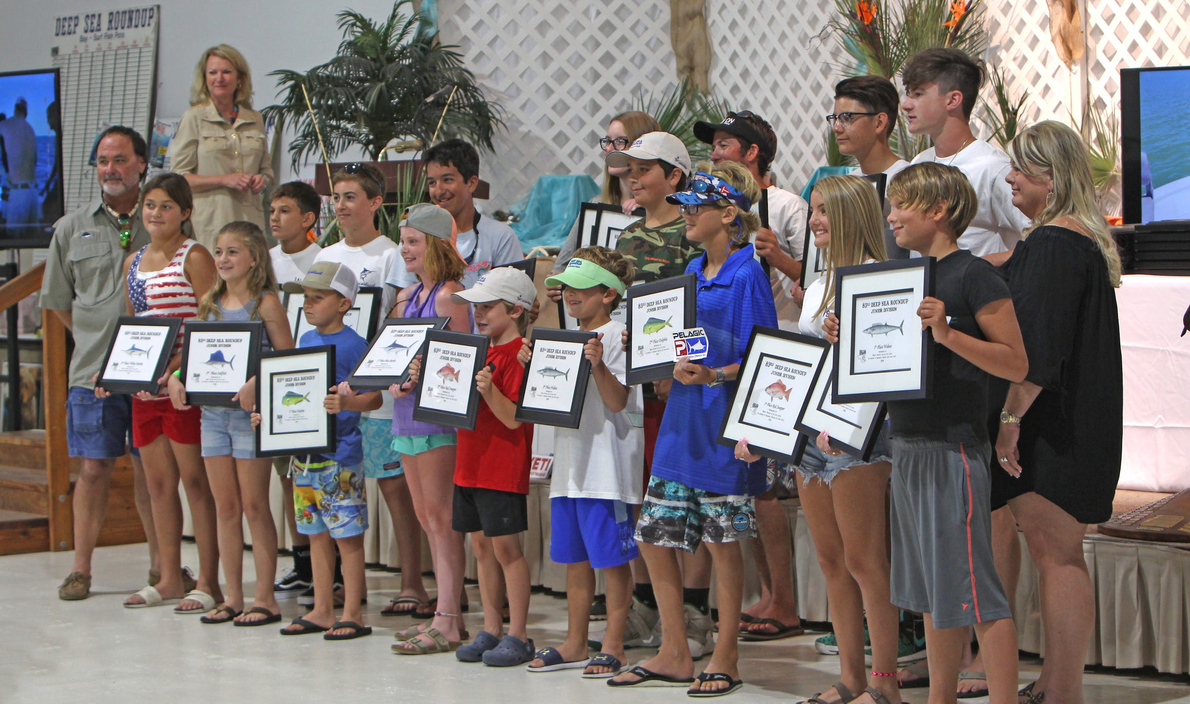Reece Rockett, third from right in front row, earned a first place in the red snapper junior division of the Port Aransas Boatman Deep Sea Roundup.