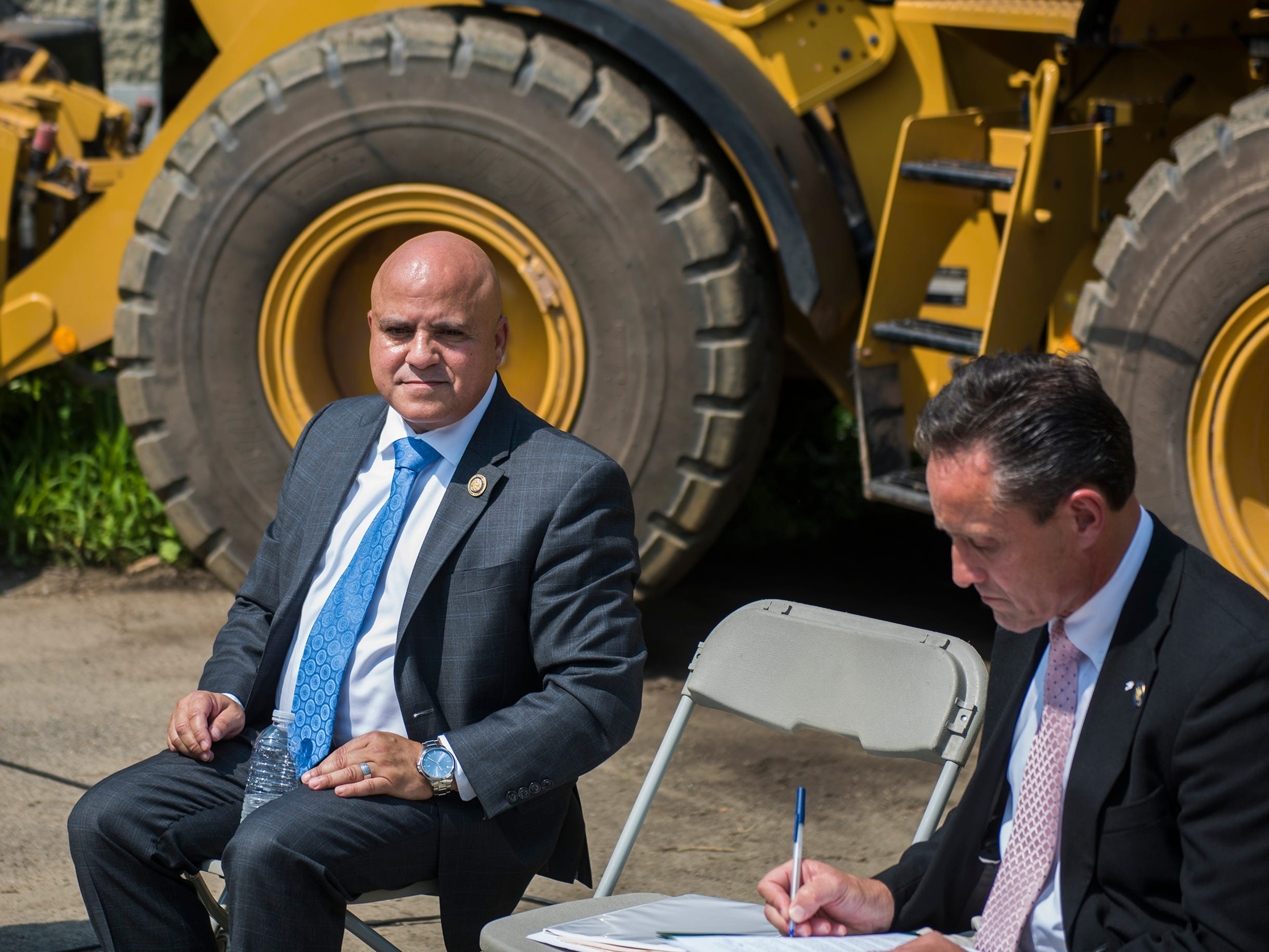Mayor Frank Moran in attendance as a press conference is held at the Camden Labs site Wednesday, Aug. 15, 2018 in Camden, N.J. The former toxic and illegal dumping site will be cleaned and cleared to make way for recreational open space.