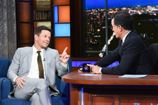The Late Show with Stephen Colbert and guest Mark Wahlberg during Tuesday's show.