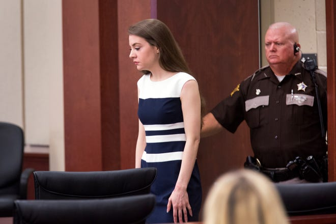 Shayna Hubers, 27, is brought into the Campbell County Courtroom of Judge Daniel Zalla for her retrial in the shooting death of Ryan Poston on October 12, 2012 in his apartment in Highland Heights. Hubers, who was convicted in 2015 and sentenced to 40 years, was granted a retrial after her attorney discovered a juror in the first trial had a prior felony conviction.