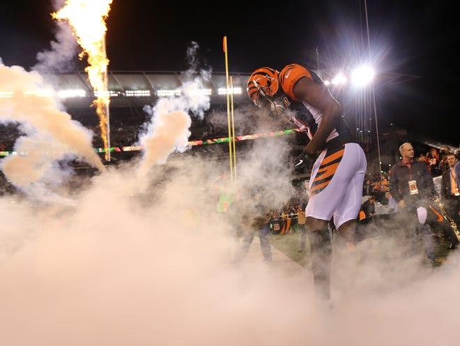 Cincinnati Bengals wide receiver A.J. Green (18) is introduced before the Week 13 NFL game between the Pittsburgh Steelers and the Cincinnati Bengals, Monday, Dec. 4, 2017, at Paul Brown Stadium in Cincinnati. Cincinnati leads 17-0 at halftime.