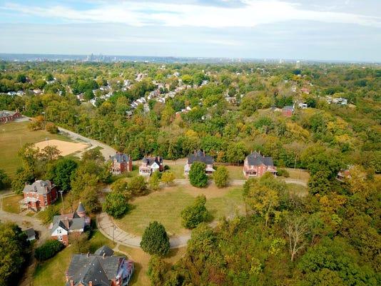 Aerial view of Alexander Circle homes