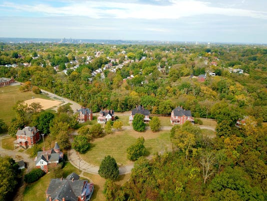 Aerial view of Alexander Circle homes
