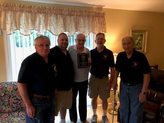 (Left to right) Phil Thomas, Past Grand Knight Joe McGeehan, Lenny Kleczkowski, Current Grand Knight Joe Wilkowski and Ted Rubino.