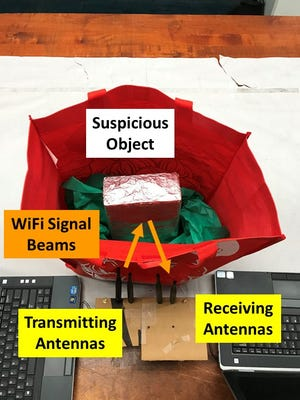 Using common WiFi, this low-cost suspicious object detection system can detect weapons, bombs and explosive chemicals in bags, backpacks and luggage.