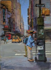 "Elaine Denton, ""News Vendor, 42nd and 8th,"" pastel and gouache"