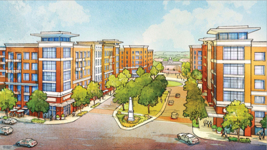 A rendering of what the Route 18 corridor's redevelopment project may look like when completed.