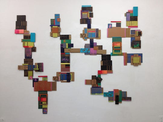"""Leslie Kerby, """"The World Contained,"""" oil on cardboard--portion of a multimedia, site-specific installation"""
