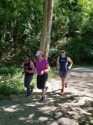 Kay Hallenbeck, center, at a recent Parkrun in Gwynns Falls/Leakin Park, Baltimore. Hallenbeck is the organizer of a new weekly Parkrun 5K starting Saturday, Aug. 18, in Colonial Park in the Somerset section of Franklin.