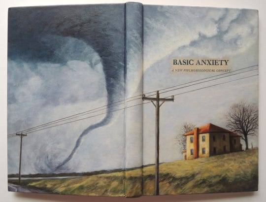 "Mary Jean Canziani, ""Basic Anxiety--A New Psychobiological Concept,""  acrylic on repurposed book"